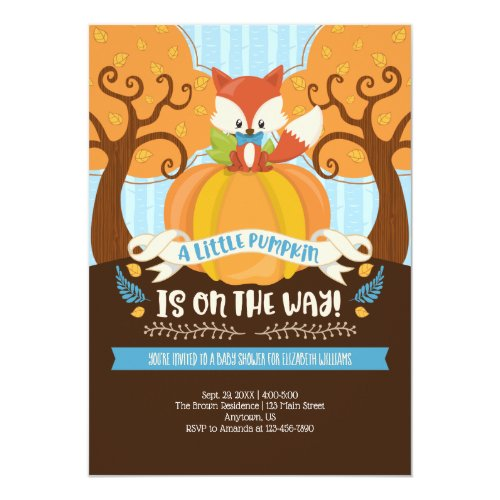 Boy Fox Little Pumpkin Baby Shower Invitation