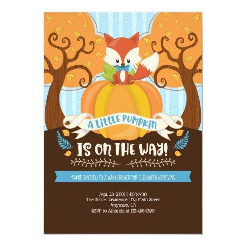 Boy Fox Little Pumpkin Baby Shower Invitation