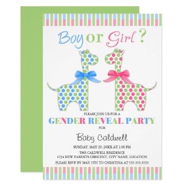 Boy Girl Giraffe Gender Reveal Party Card