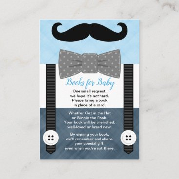boy little man mustache blue navy books for baby enclosure card