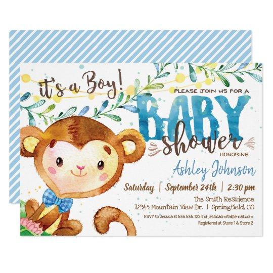 Boy Monkey Baby Shower Invitation