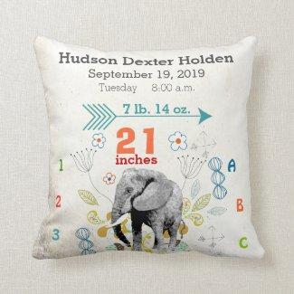 Boy Nursery Baby Birth Stat Elephant Arrow Pattern Throw Pillows