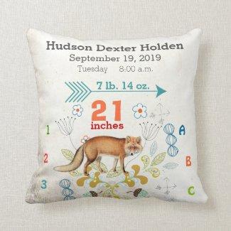 Boy Nursery Baby Birth Stat Fox Arrow Pattern Throw Pillow