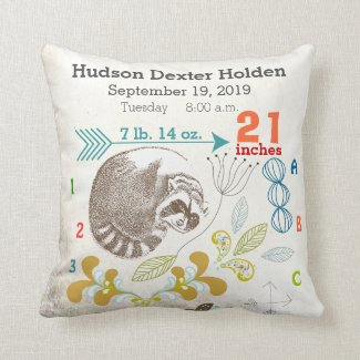 Boy Nursery Baby Birth Stat Raccoon Arrow Pattern Throw Pillows