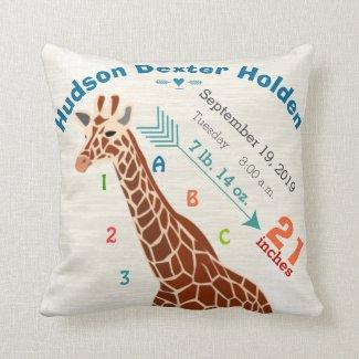 Boy Nursery Baby Birth Stats Giraffe Arrow Pattern Pillows