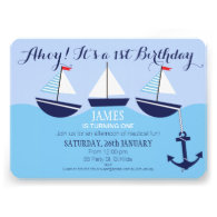 Boy s Nautical 1st Birthday Party Invitation