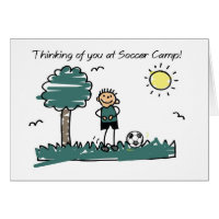 Boy Soccer Camp Stick Figure Thinking of You Card