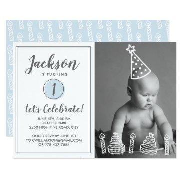 Boy's 1st Birthday Party Photo Candles Cake Invitation