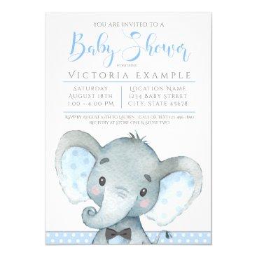 Boys Cute Elephant Baby Shower Invitations