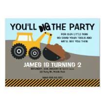 digger construction birthday