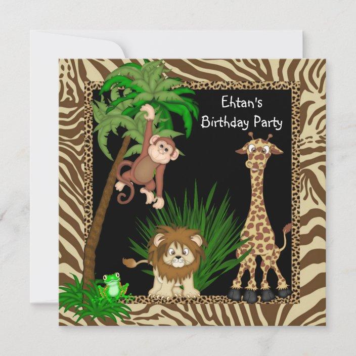 boys jungle safari birthday party invitation zazzle com