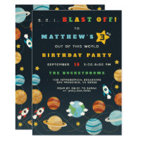 Boys Outer Space Rocket Birthday Party Invitation