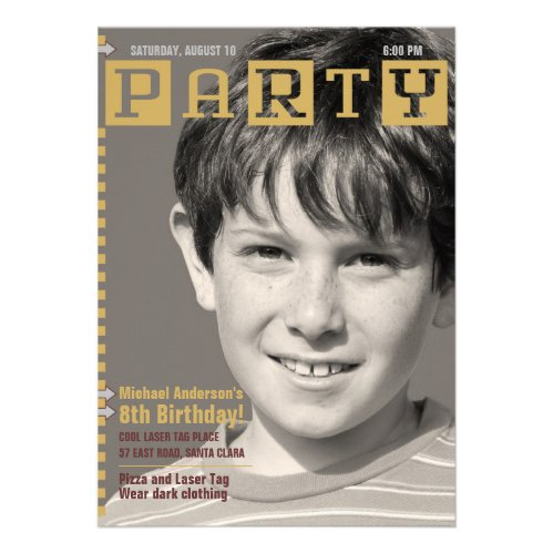 Boy's Tech Magazine Photo Birthday Party Personalized Announcements