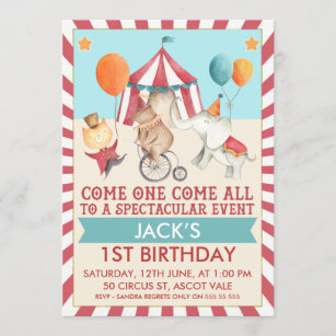 circus 1st birthday invitations zazzle
