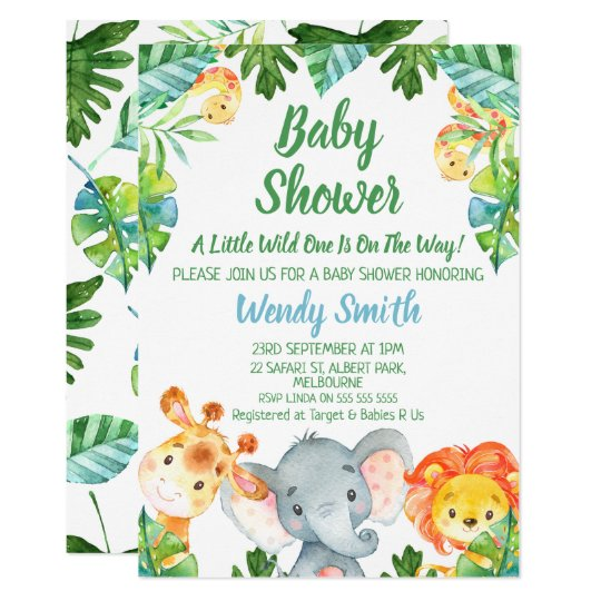 Boys Wild One Safari Animals Baby Shower Invitation