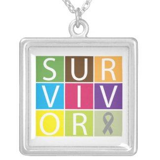 Brain Cancer Survivor Colorful Tiles necklace