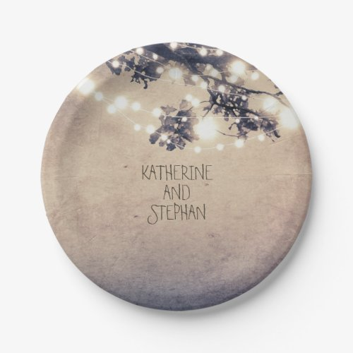 Branches and Lights Rustic Wedding Paper Plate