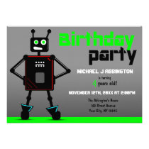 Brash Robot Boys Birthday Party Invitations