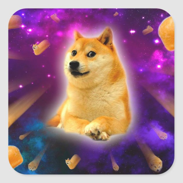 Bread Doge Shibe Space Wow Doge Square Sticker Zazzle Com
