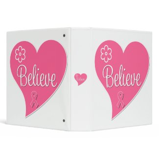 Breast Cancer Believe Heart binder