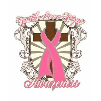 Breast Cancer Faith Love Hope Awareness Cross shirt