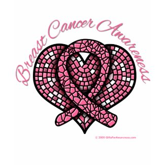 Breast Cancer Mosaic Heart Ribbon shirt