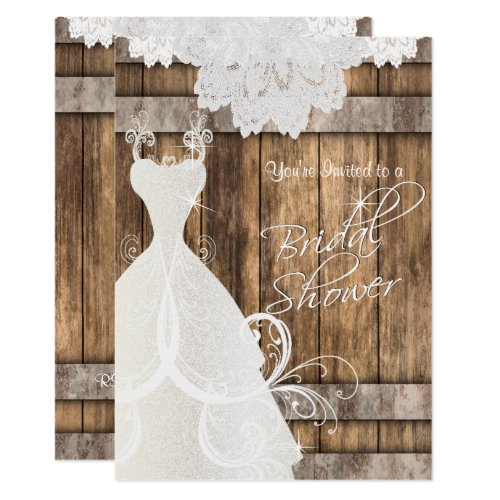 Bridal  &#128112&#x3B; Shower in Rustic Wood and Lace  &#128149&#x3B; Invitation