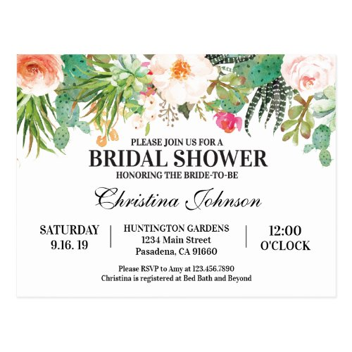 Bridal Shower Invitation with succulents, cactus Postcard