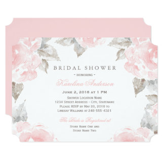 Bridal Shower Invitations Pink Watercolor Roses