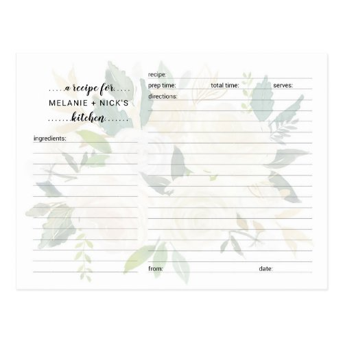 Bridal Shower recipe card, white floral peonies Postcard
