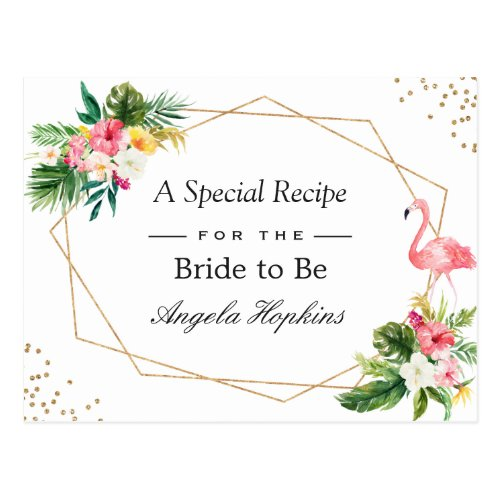 Bridal Shower Recipe Tropical Flamingo Luau Floral Postcard