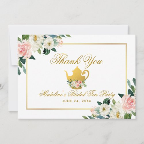 Bridal Shower Tea Party Gold Pink Floral Thanks Thank You Card