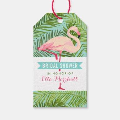 Bridal Shower | Tropical Flamingo Mahalo Gift Tags