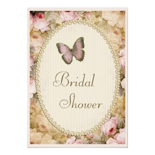 Bridal Shower Vintage Pearls Lace Roses Butterfly Invitation