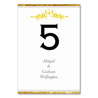 Bride & Groom Gold Trim Table Number Card Table Cards