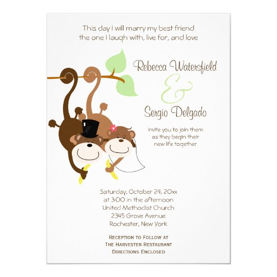 Bride Groom Monkeys Offbeat Wedding Invitation