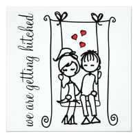 Bride & Groom on Swing Doodles Wedding Invitation