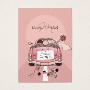 Bride & Groom Pink Getaway Car RSVP Cards