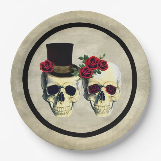 Bride Amp Groom Skull Wedding Paper Plate
