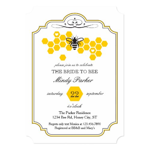 Bride to Bee Bridal Shower Invitation