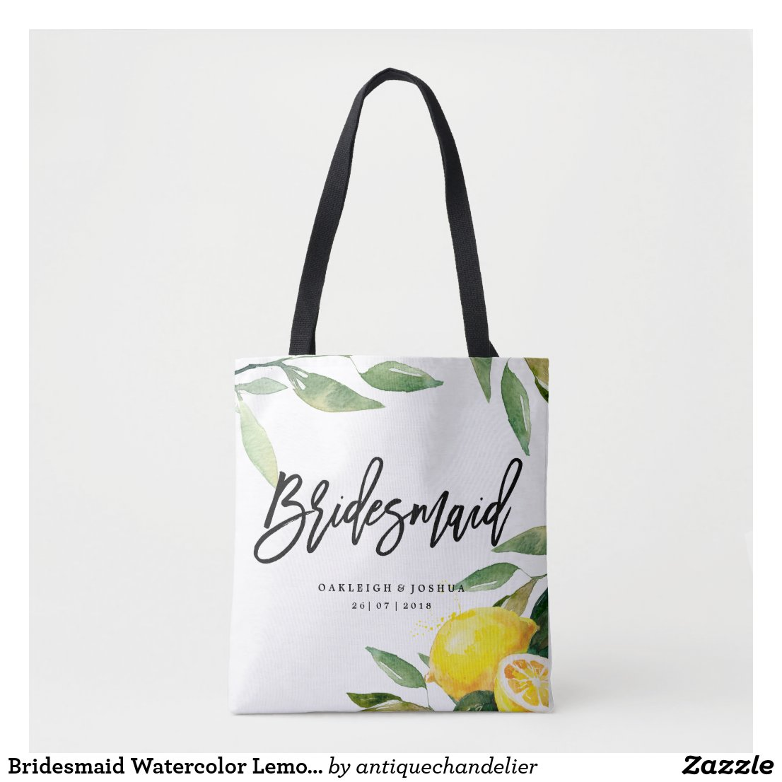 Bridesmaid Watercolor Lemon Wedding Tote Bag