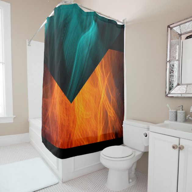 bright abstract teal and orange shower curtain zazzle com