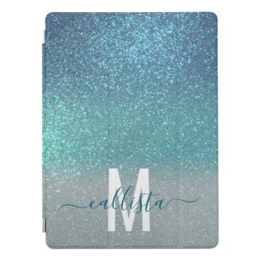 Bright Blue Teal Sparkly Glitter Ombre Monogram iPad Pro Cover