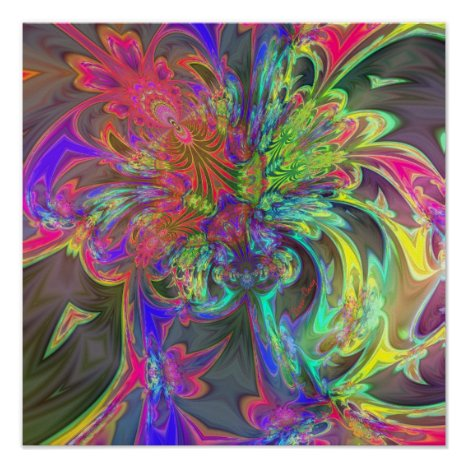 Bright Burst of Color – Salmon & Indigo Deva Poster