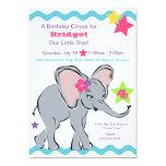 Bright Colorful Girl Elephant Star Invitation