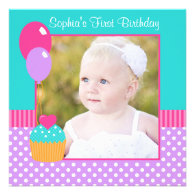 Bright Cupcake Polka Dot Girl 1st Birthday Photo Personalized Announcements