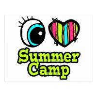 Bright Eye Heart I Love Summer Camp Postcard