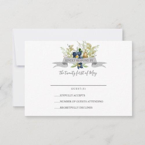 Bright Oak and blue flowers  Wedding RSVP