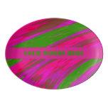 Bright Pink and green Color Swish Porcelain Serving Platter