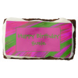 Bright Pink Green Color Swish Abstract Brownie